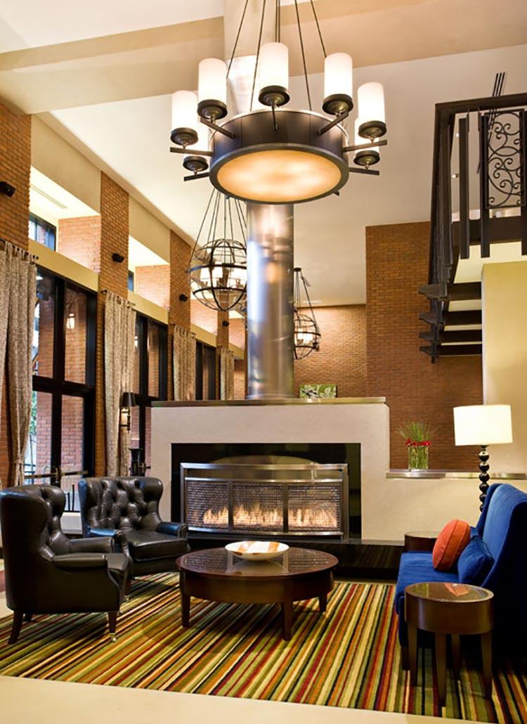Residence Inn Gaslamp Lobby Fireplace