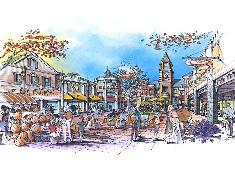 Sussex Commons Lifestyle Outlets drawing with clock tower